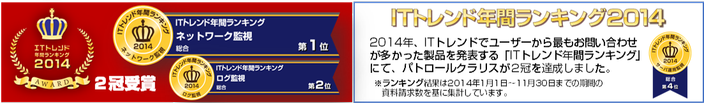2013年、ITトレンドユーザーに最も支持されたIT製品 「ネットワーク監視」カテゴリ総合で第1位、「サーバー運用監視」カテゴリ総合で第3位を獲得